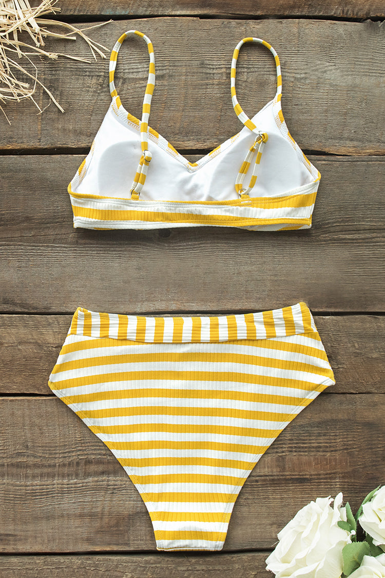 Yellow Stripe Printed Bikini With High-Waisted Bottom