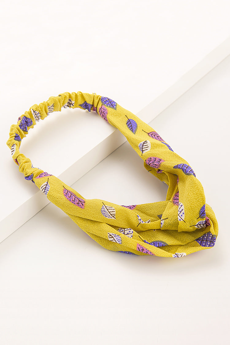Yellow Leaf Print Headbands