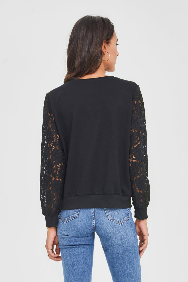 Lace Sleeve Pullover