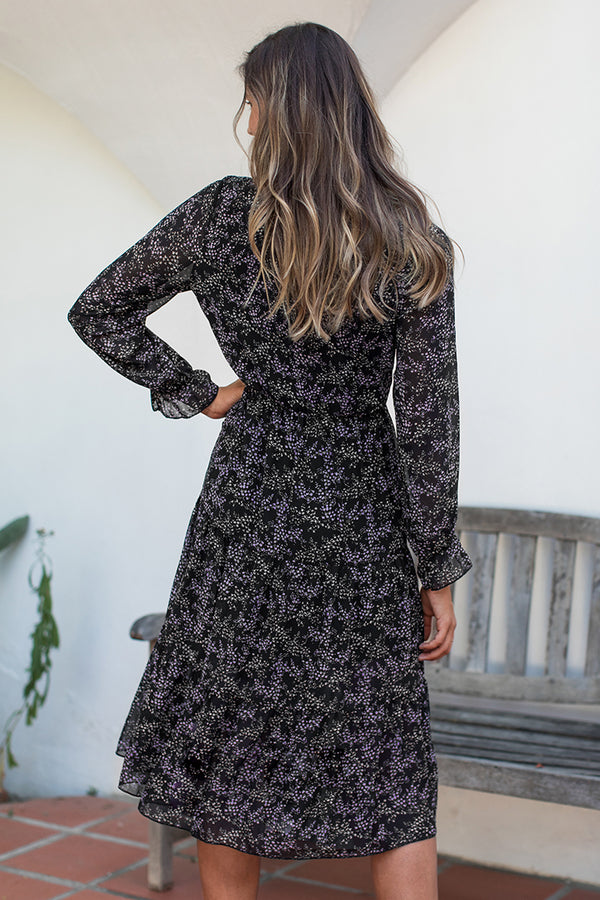 Ditsy Floral High Neck Midi Dress