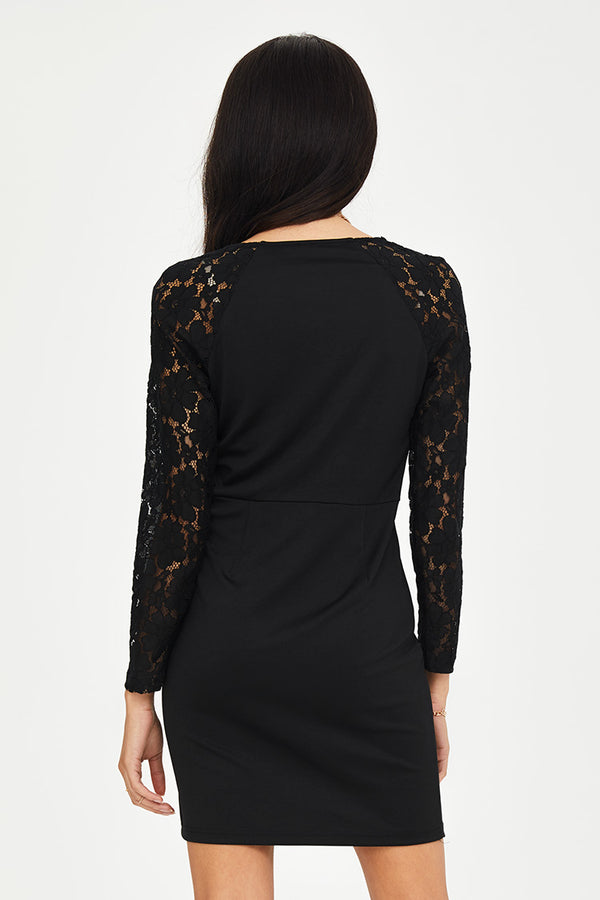 Black V-Neck Lace Bodycon Dress