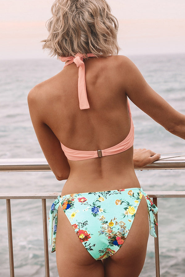Pink And Floral Halter Bikini