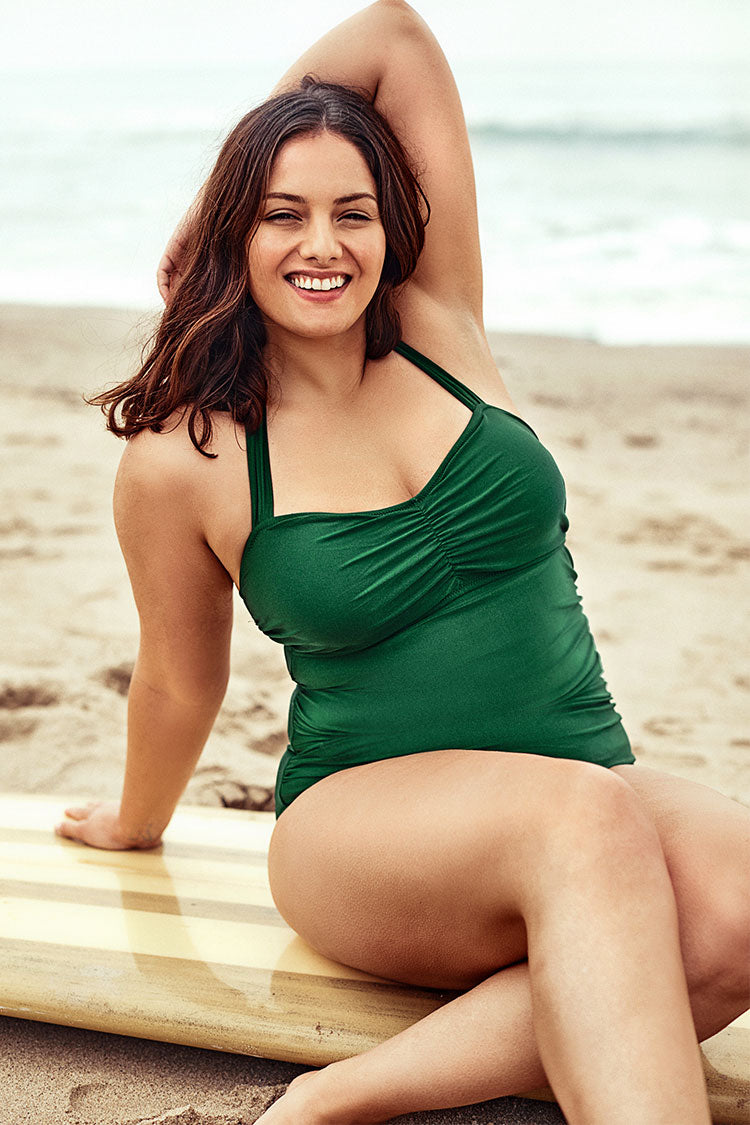 Green Halter Plus Size One Piece Swimsuit