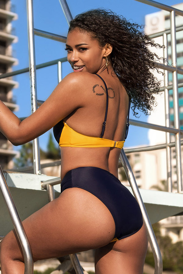 Navy and Yellow Colorblock High Waisted Bikini