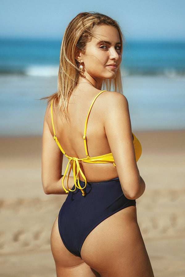 Yellow and Navy Criss Cross Strappy One-Piece Swimsuit