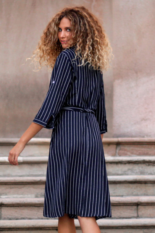 Navy Striped Belt Midi Dress