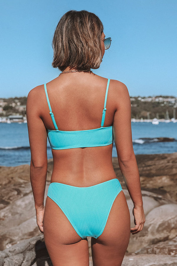 Blue Bandeau Low-Rised Solid Bikini
