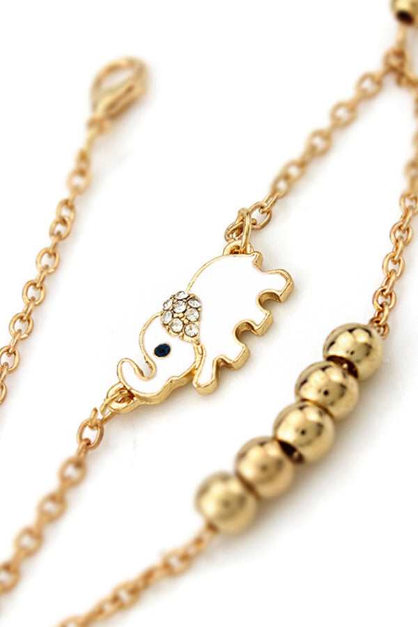 Double Layered Gold Elephant Necklace