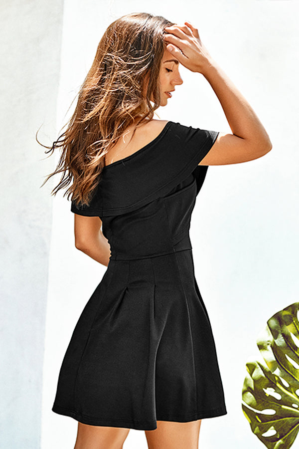 Black Off-The-Shoulder Skater Dress