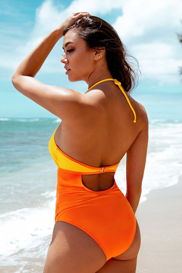 Citrus Cooler Halter Front Knotted One-Piece Swimsuit
