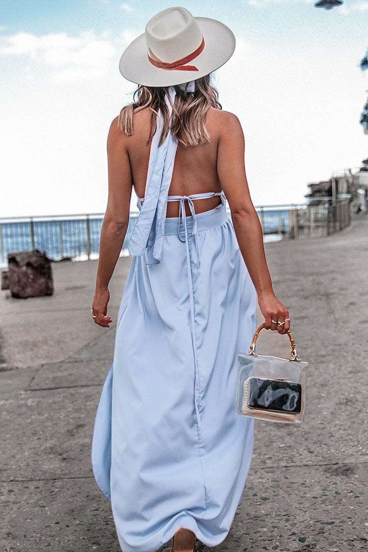 Baby Blue Halter Backless Dress with Keyhole Cutout