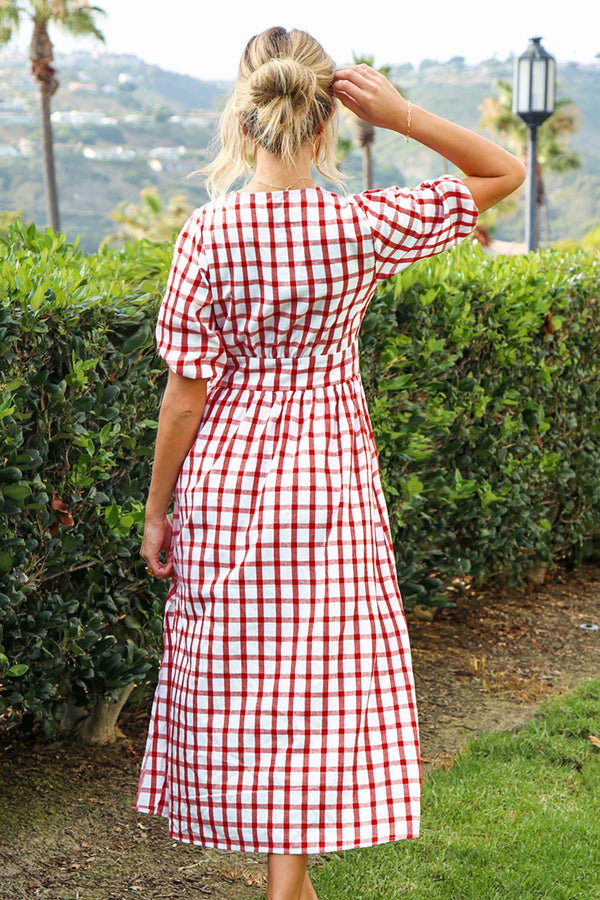 Gingham Puff Sleeve Midi Dress