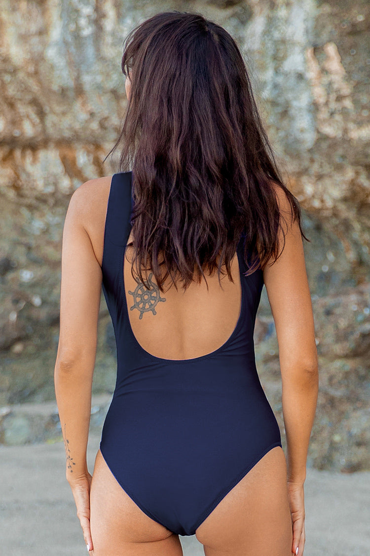Navy Cutout One-Piece Swimsuit