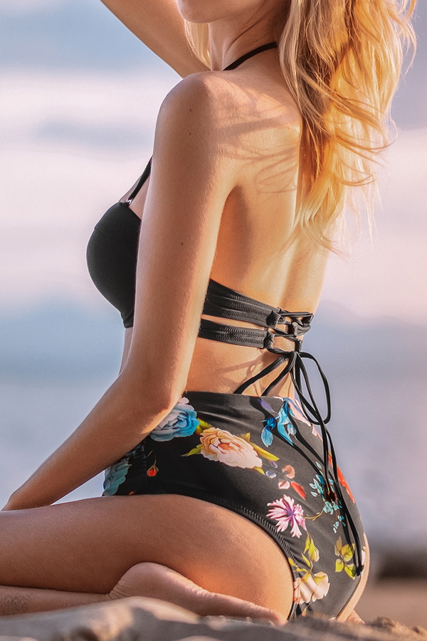 Black and Floral High-Waisted Bikini