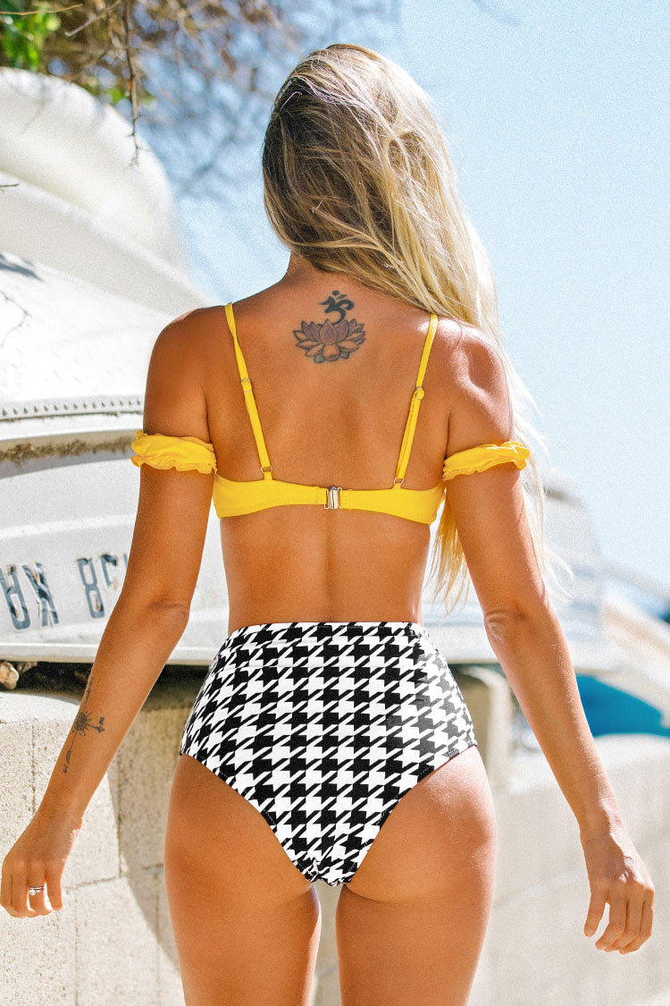 Yellow and Herringbone Pattern Bikini