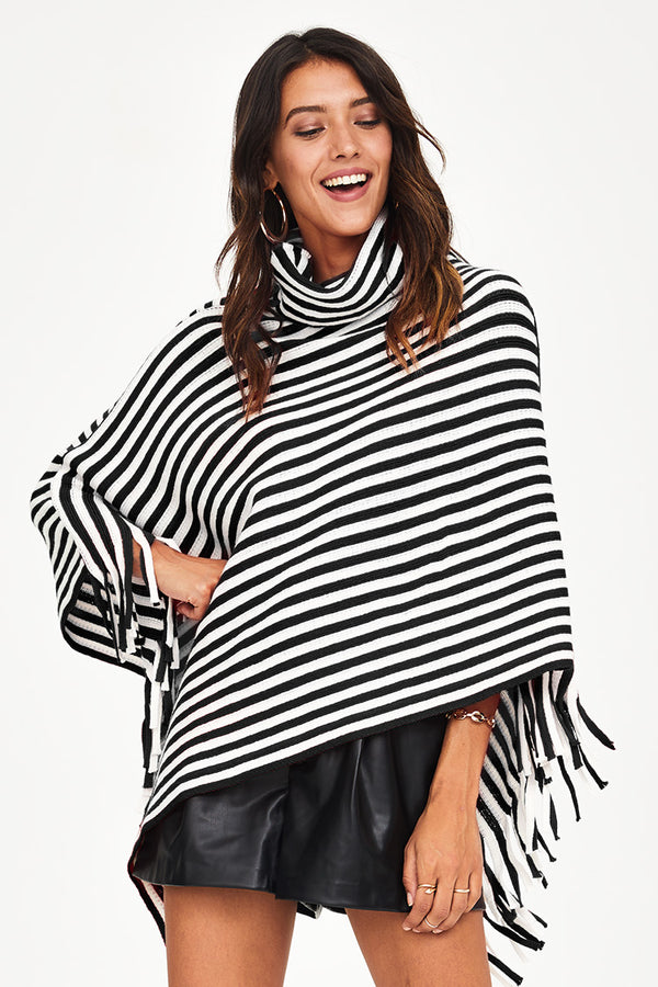 Striped Turtleneck Poncho