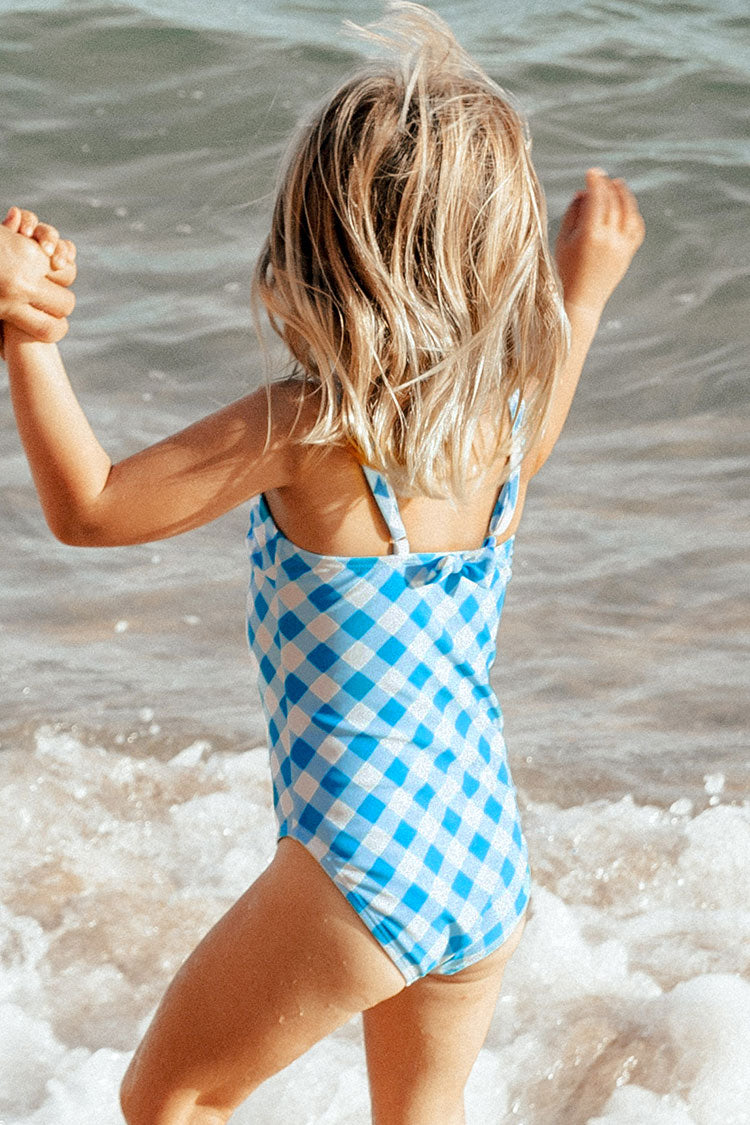 Blue and White Gingham One Piece Swimsuit For Toddler Girls and Girls