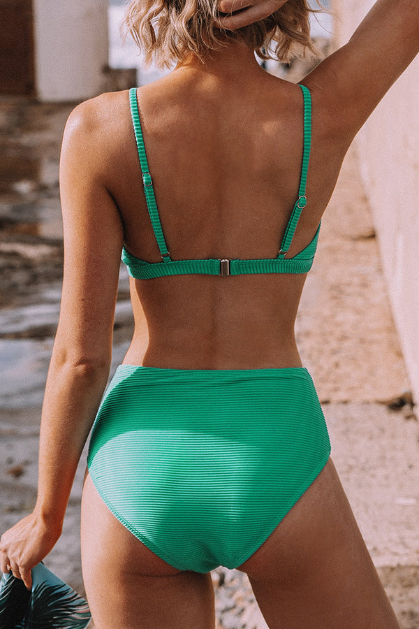 Jade Green Front Knot High-Waisted Bikini