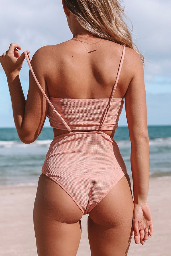Peach Bandeau With High-waist Suspender Bikini
