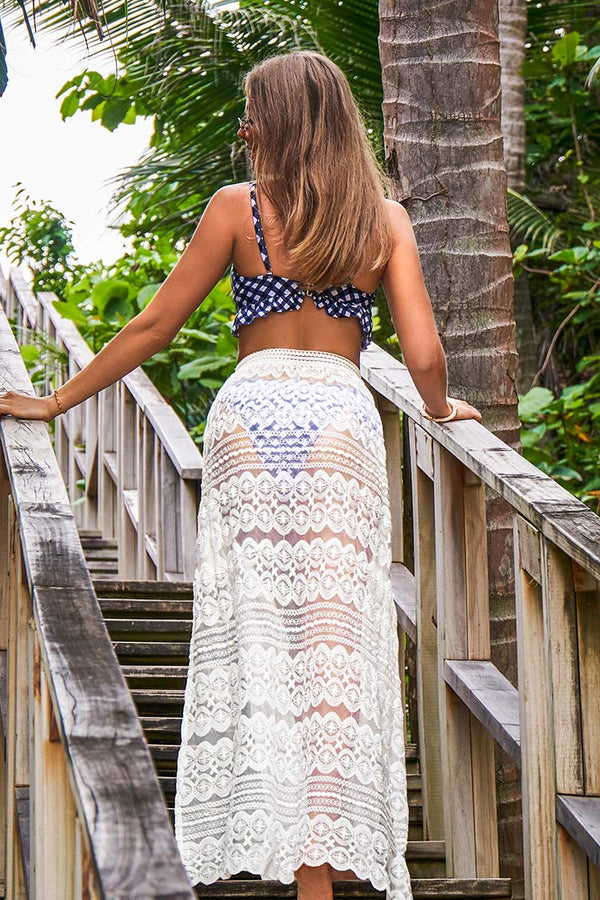 White Lace Boho Skirt Cover Up