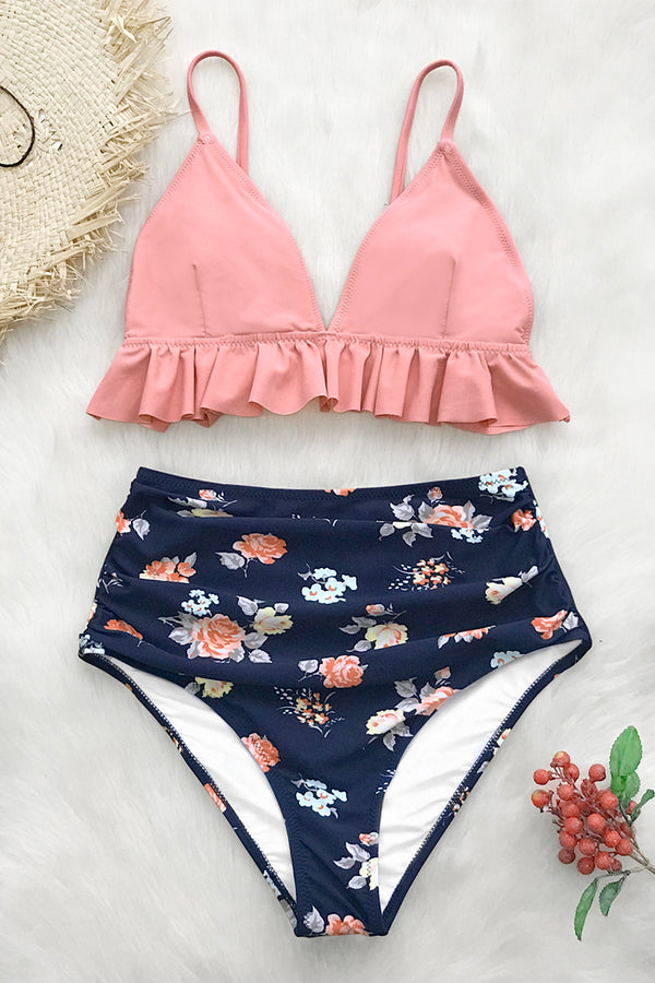 Pink and Floral Ruffled High-Waisted Bikini