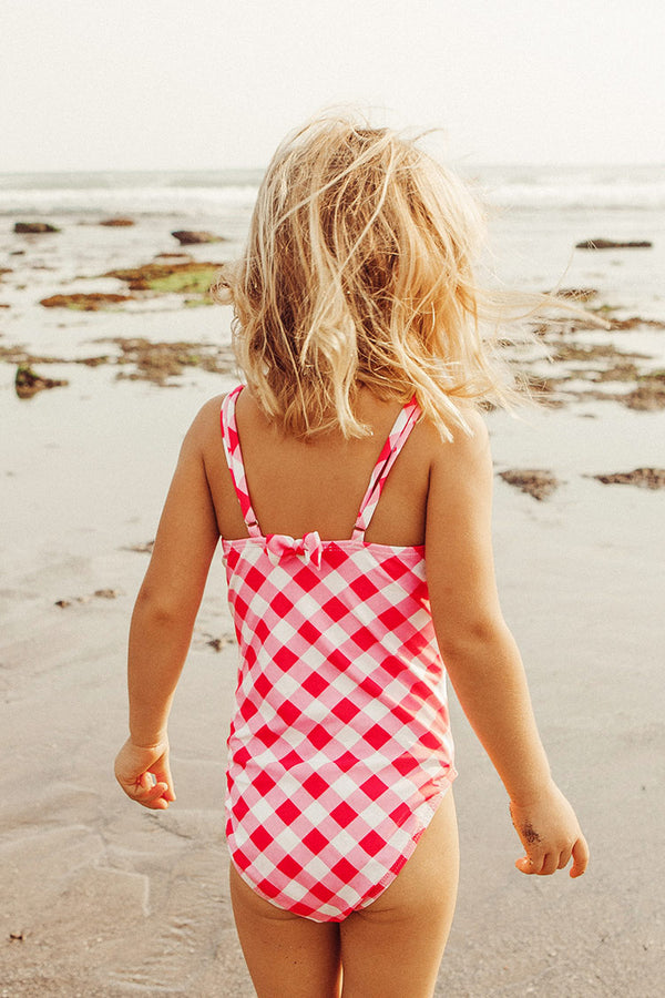 Gingham Bowknot One Piece Swimsuit For Toddler Girls and Girls