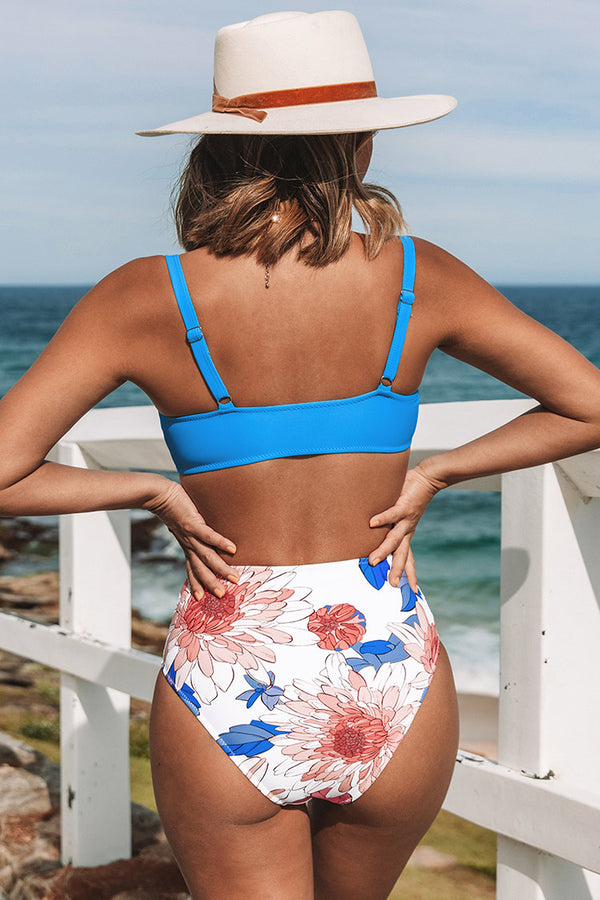 Blue and Floral Cutout Knotted Bikini