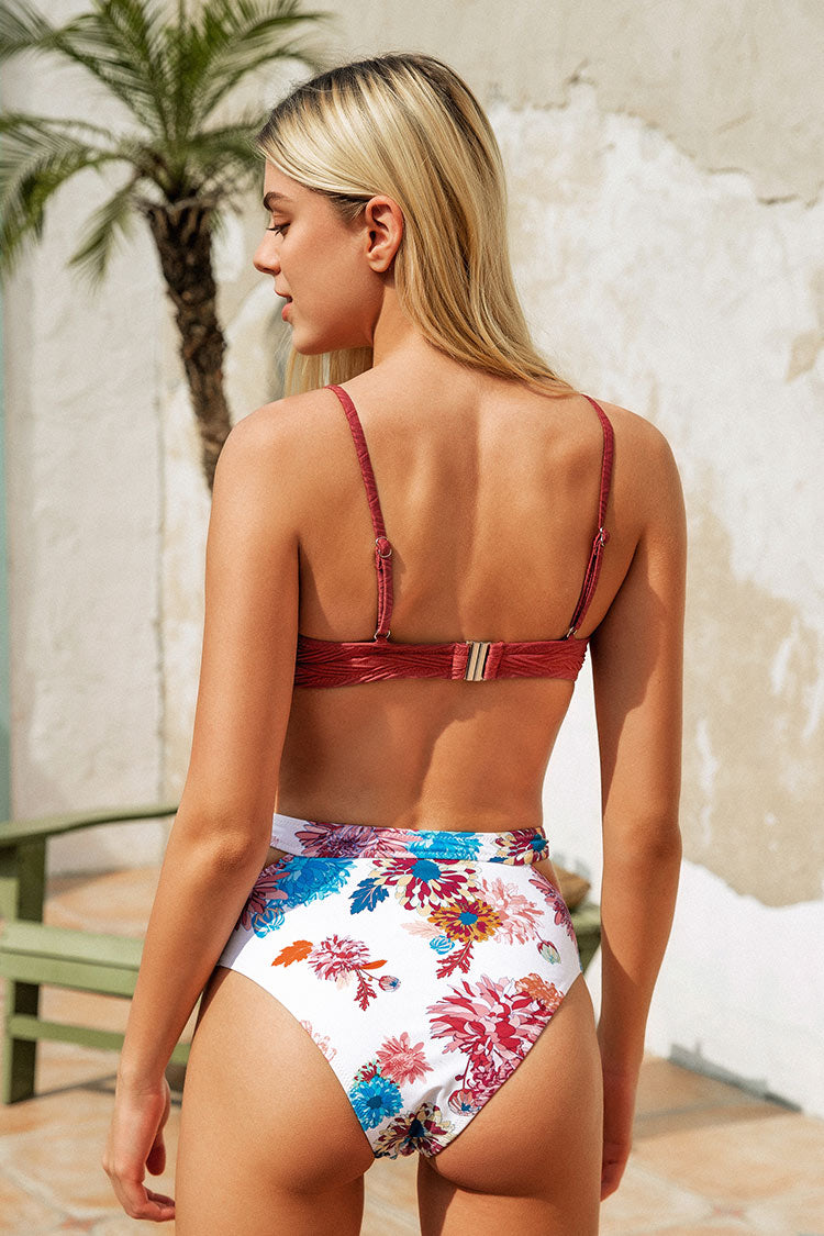 Burnt Red Textured And Floral Cutout High Waisted Bikini