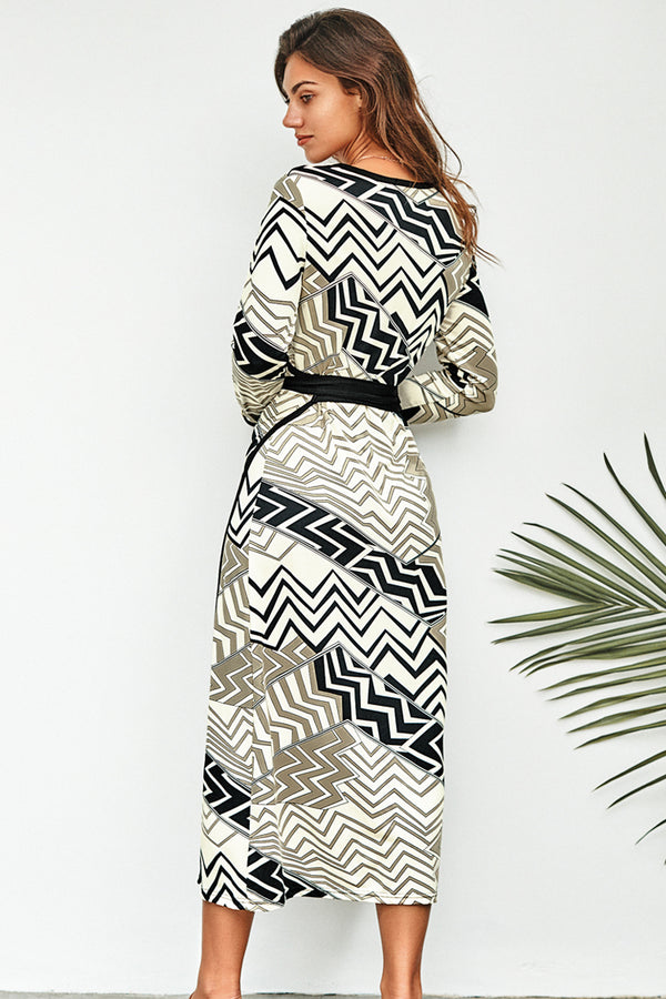 Geometrical Ripple Print Wrap Dress