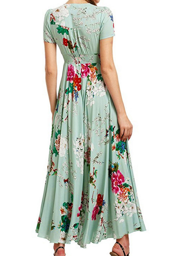 Green Floral Print Front Button Slit Dress