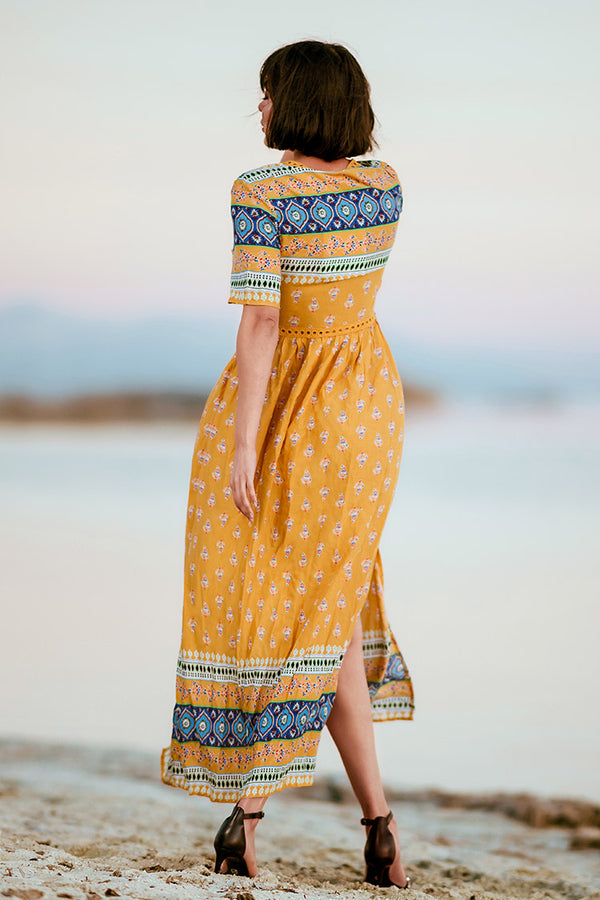 Yellow Boho Hollow Out Maxi Dress
