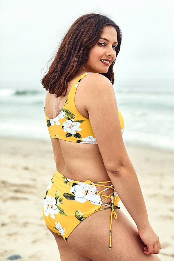 Yellow Floral Print Lace Up Plus Size Bikini