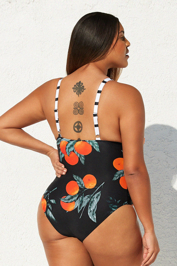 Stripe and Orange Plus Size One Piece Swimsuit