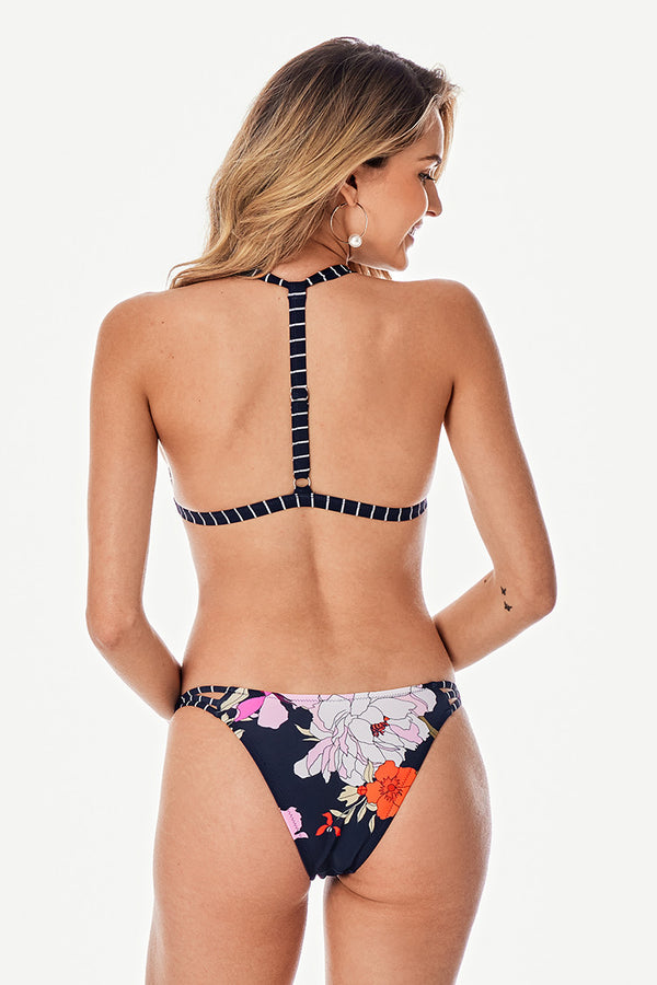 Striped and Floral T-Straps Bikini