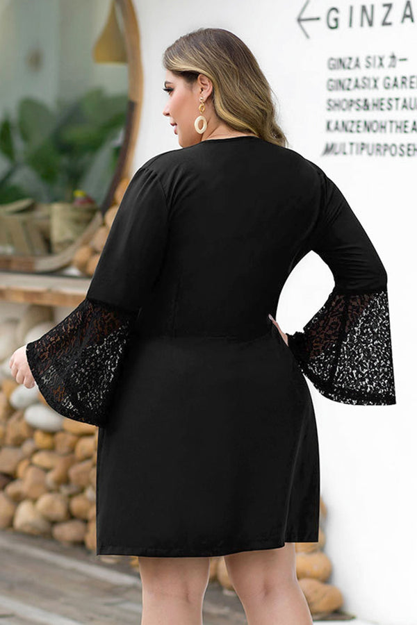 Lace Sleeve V-Neck Plus Size Dress