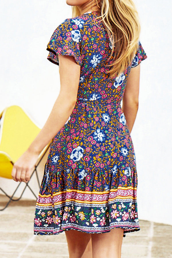 Colorful Printed V-Neck Dress