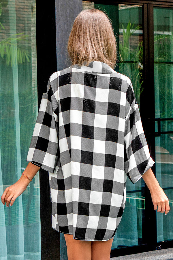 Black and White Gingham Print Cover Up