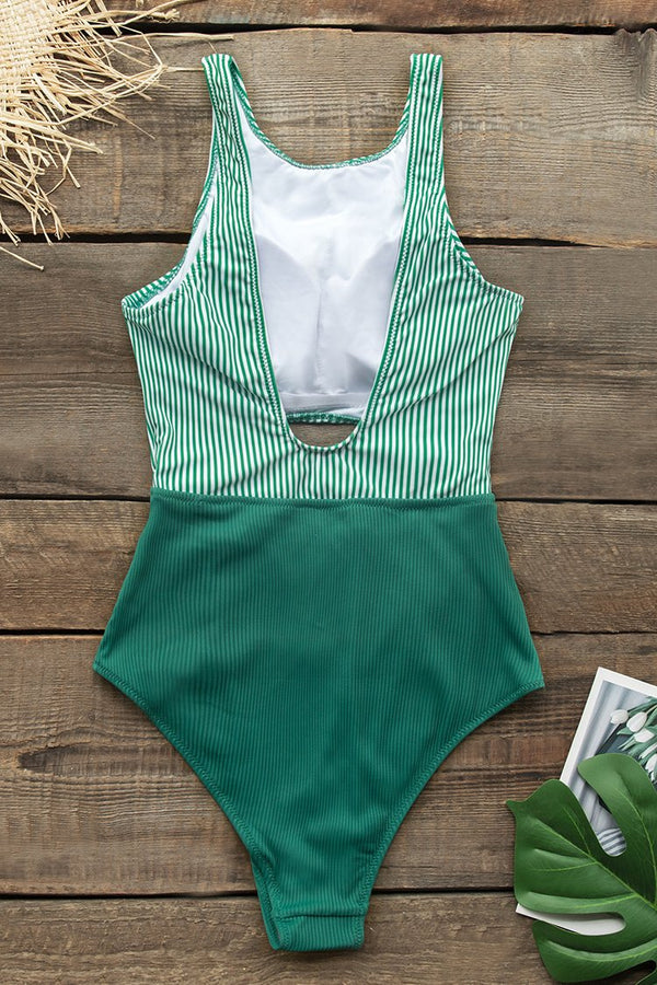 Green Stripe Print Cut Out One Piece Swimsuit