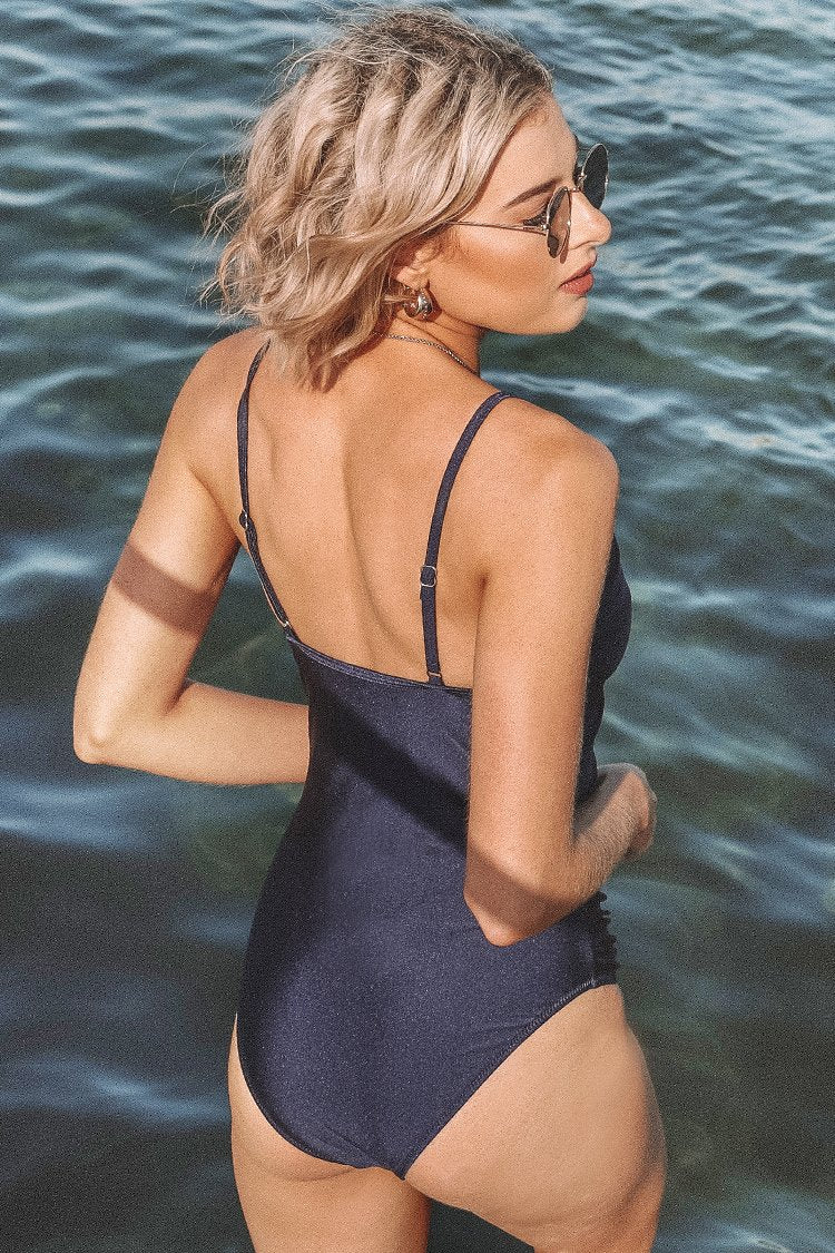 Navy Twist Front One-Piece Swimsuit