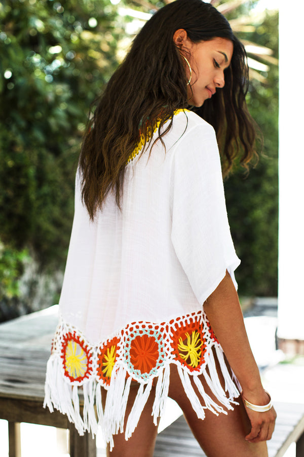 Colorful Crochet Cover Up with Fringe