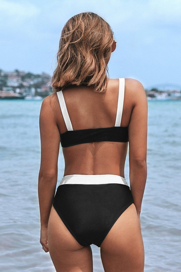 Black and White Bandeau High Waisted Bikini