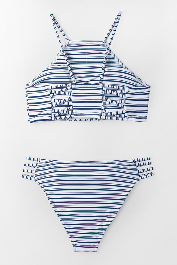 Blue And White Stripe High Neck Bikini