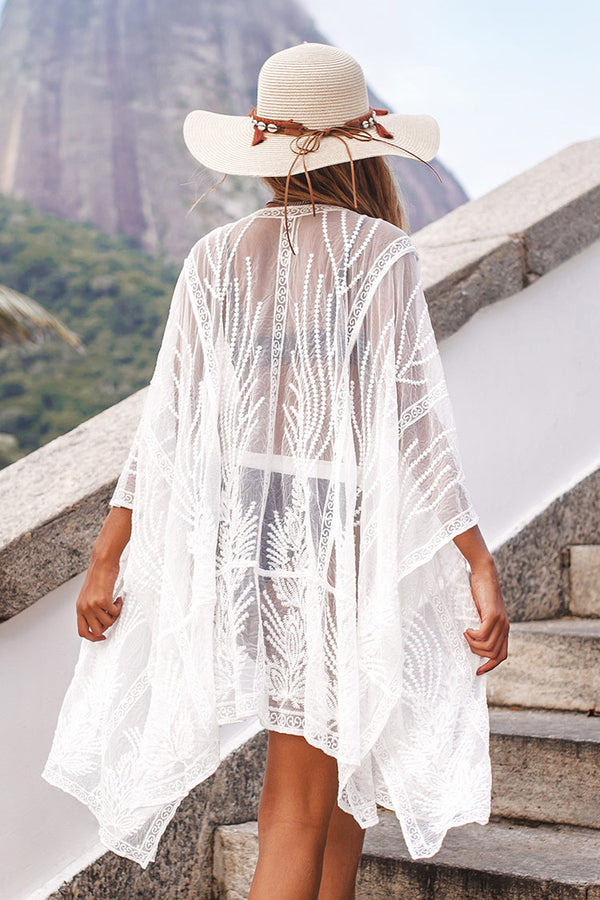 Sheer Embroidery Kimono Cover Up