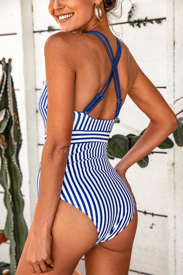 Blue And White Stripe Ruffle One-Piece Swimsuit
