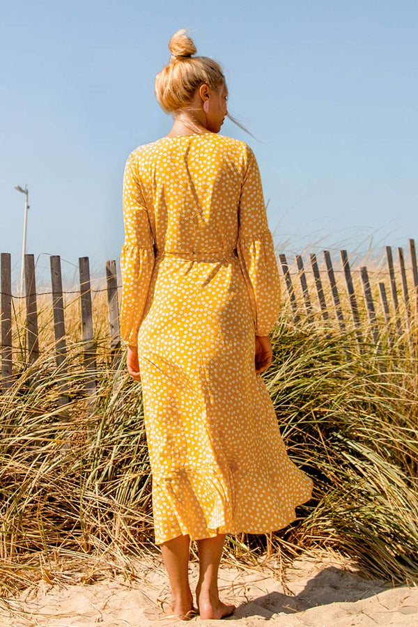 Yellow Polka Dot Wrap Dress
