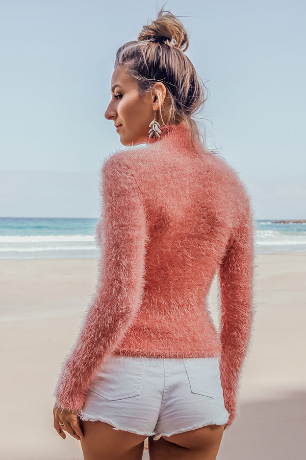 Pink Faux Mohair Turtleneck Sweater