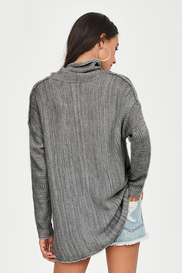 Grey High-Neck Long Thin Sweater