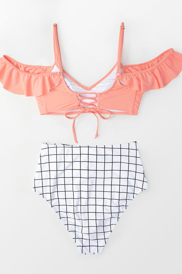 Pink and Windowpane Print High-Waist Bikini