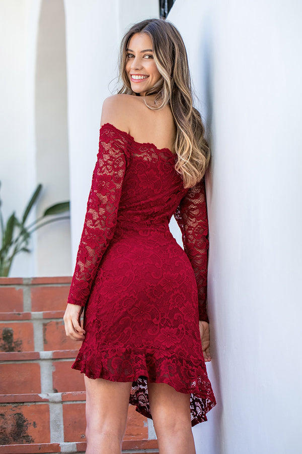 Red Lace Off the Shoulder Dress