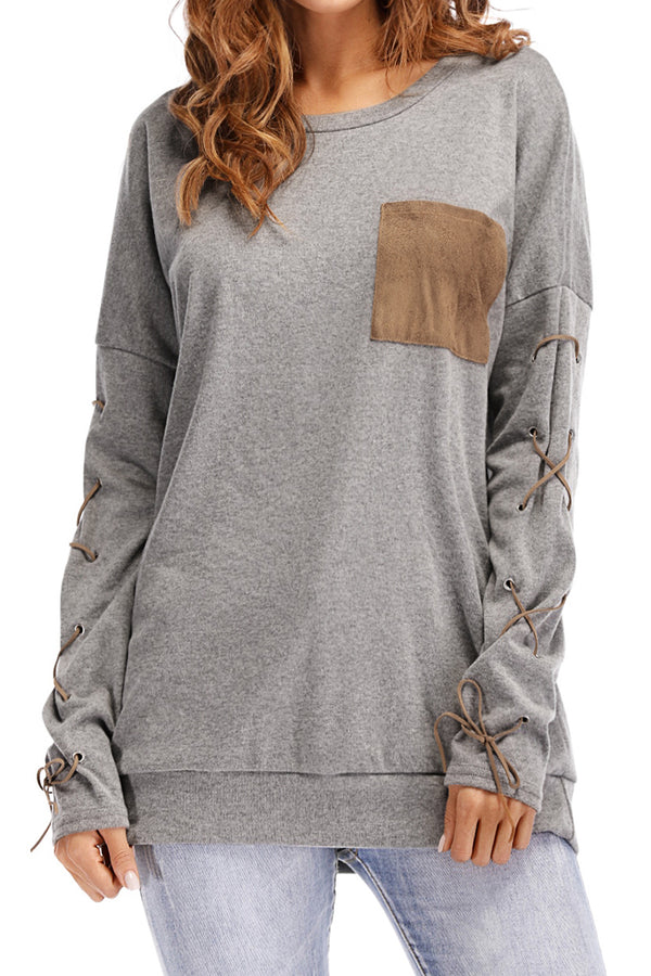 Lace-Up Long Sleeve Oversized Top